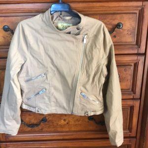 Khaki zip denim jacket